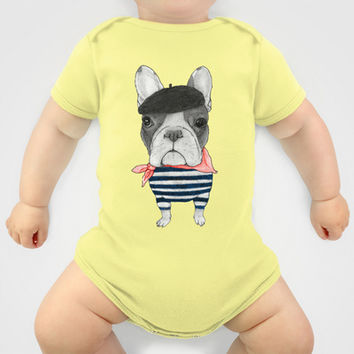 French Bulldog. (panoramic view version) Baby Clothes by Barruf