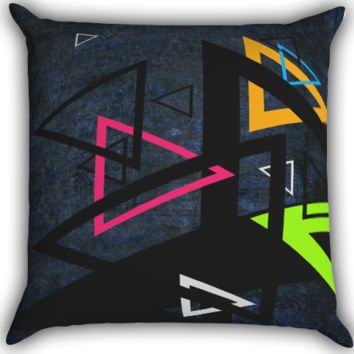 retro triangle Zippered Pillows  Covers 16x16, 18x18, 20x20 Inches