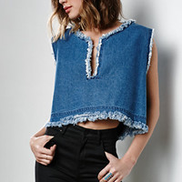 J.O.A. Frayed Denim Cropped Tank Top at PacSun.com