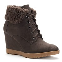 Dana Buchman Women's Lace-Up Wedge Ankle Booties (Brown)