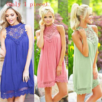 New women's cotton lace bottom sleeveless dress(Only 1 piece)