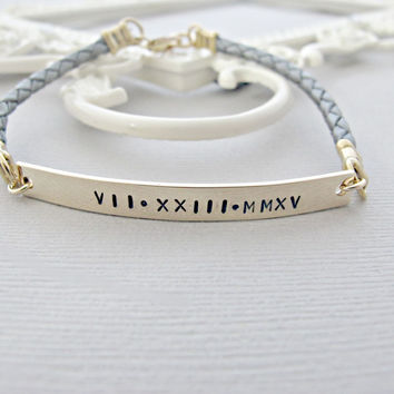 Personalized Gold Bar Bracelet, Date Jewelry, Roman Numeral Bracelet, Hand Stamped Bracelet, Personalized Bracelet, Hand Stamped Jewelry
