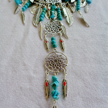 Native Dreamer Southwestern Statement Necklace Turquoise Coral Silver Dream-Catcher Feathers Handmade American Festival Jewelry