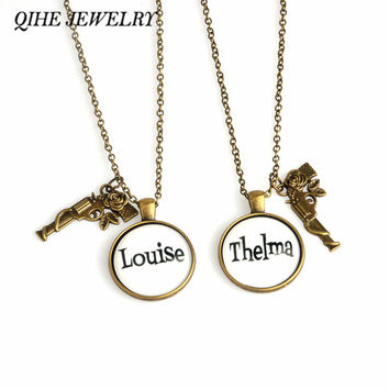 QIHE JEWELRY 2pcs Stamped Metal Rose Gun Pendant Thelma & Louise Necklace Best Friend Best Bitches Partner In Crime Jewelry