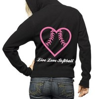 Live Love Softball Full Zip Hooded Sweatshirt Adult Unisex