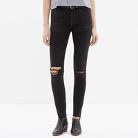 High Riser Skinny Skinny Cut-Edge Jeans in Black Sea