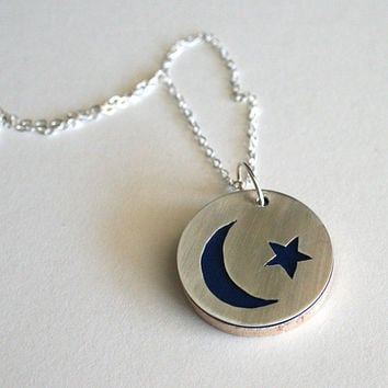 Sterling Silver Moon and Stars Cutout Pendant - Choose Your Background Color / Paper Jewelry / Silhouette / Gifts for Her  First Anniversary