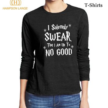 Hogwarts I Solemnly Swear That I Am Up To No Good Funny T Shirts 2017 Hot Autumn Cotton Long Sleeve T Shirt Women Casual Tshirt