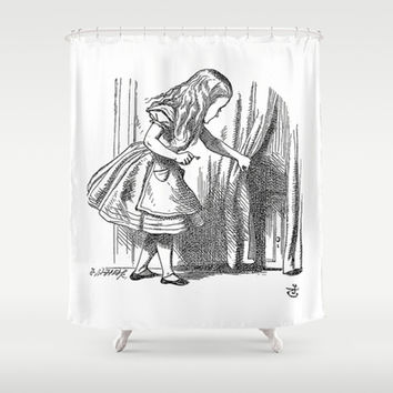 Vintage Alice in Wonderland 'looking for the door' antique book drawing emo goth fantasy gothic Shower Curtain by iGallery