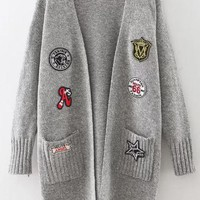 Womens Long Sweater With Knitted Patch And Pockets