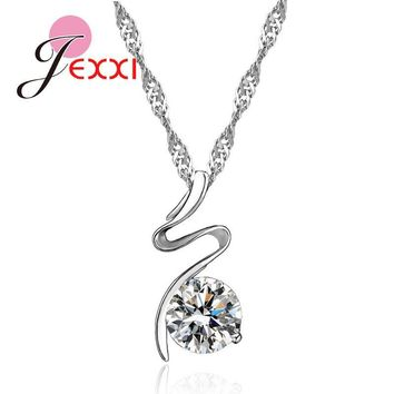 Simple Fashion 925 Sterling Silver Chain Cubic Zirconia Crystal Ball Necklace for Women Ribbon Collar Bijoux Party Accessories