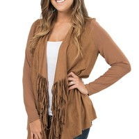 Anne French Honey Faux Suede with Fringe Long Sleeve Cardigan