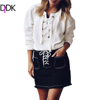 Vogue Ladies 2016 New Arrivals Casual Pullovers High Street Clothing White Round Neck Long Sleeve Lace Up Front Sweatshirt