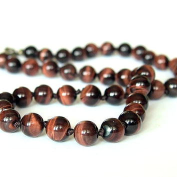 Red Tiger Eye Beaded Hand Knotted Unisex Choker Mens Surfer Necklace Natural Stones Jewelry Gift for Him Her