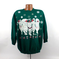 Ugly Christmas Sweater Vintage Sweatshirt Cats Butts Scene Party Xmas Tacky Holiday