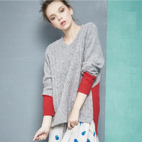 Women's Fashion Winter Patchwork Pullover Sweater [6351444932]