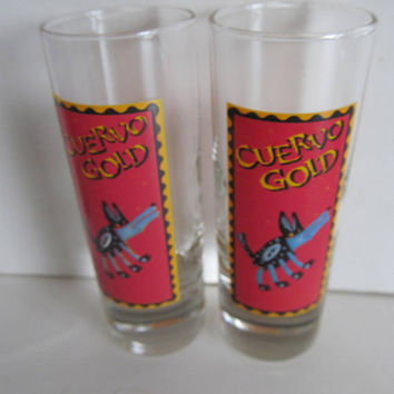 Cuervo Gold Tall Shot Glass vintage shot glasses Bar Decor Red Shot Glass Cuervo Tequila Makes Her Clothes Fall Off Bar Cart Decor Bar