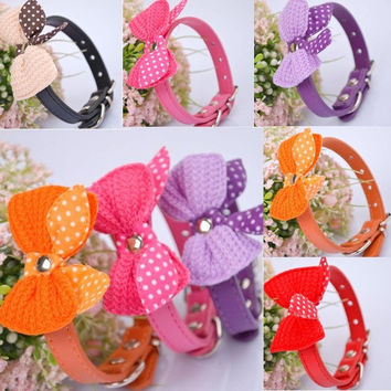 Knit Bowknot Dot Adjustable PU Leather Dog Puppy Pet Collars Necklace Stylish = 1958137732
