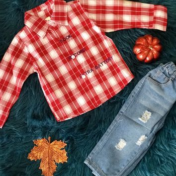 2018 Fall Boys Plaid Shirt With Denim Jeans