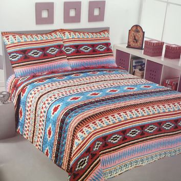 Comfy 3 Piece Southwestern Design Quilt Set!