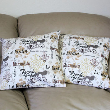 Set of TWO French Script Decorator Throw Pillow Cover in Black Taupe and Natural, Birds and Script 16 or 18 or 20 inches