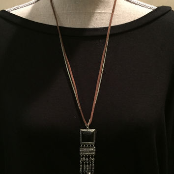 Silver and Brown Leather Necklace with Black Pendant