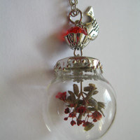 REAL DRIED FLOWER glass NECKLACE red WISH silver CHAIN BEST FRIEND GIRLFRIEND