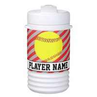 Fastpitch Softball Red and Silver Custom Text Jugs Beverage Cooler