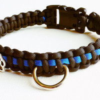 Thin Blue Line Paracord Dog Collar - Police Dog Collar - K9 Unit Dog Collar - Custom Length Dog Collar - Paracord Collar - Dog Collar