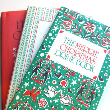 Vintage Christmas Books , Peter Pauper Boxed Set , Drink Book Cookie Recipes Manners