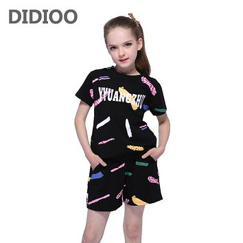 Girls Outfits Cotton Graffiti Clothing Sets For Girls Sports Suits Summer Kids Clothes Suits T-Shirts  Shorts