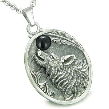 Amulet Howling Wolf Black Onyx Moon Gemstone Oval Shape Fine Pewter Lucky Charm Pendant Necklace