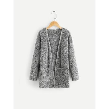 Girls Pocket Front Faux Fur Coat