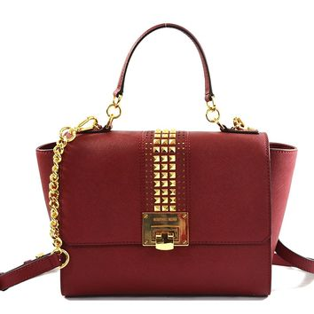 Michael Kors Tina Medium Saffiano Leather Studded Sachel Crossbody Bag Purse Handbag, Cherry