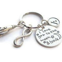 I Love You To The Moon And Back Keyring ~ Personalized Space Rocket Keychain, Infinity Keyring, Gift For Girlfriend, Daughters Birthday