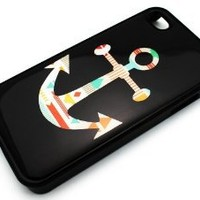 BLACK Snap On Hard Case IPHONE 4 4S Plastic Skin Cover - Mayan Aztec Anchor colorful tribal navajo sailor rainbow rope: Cell Phones & Accessories