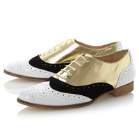 **Lustrous Metallic Lace Up Brogues by Dune - Brands at Topshop - Flats  - Shoes