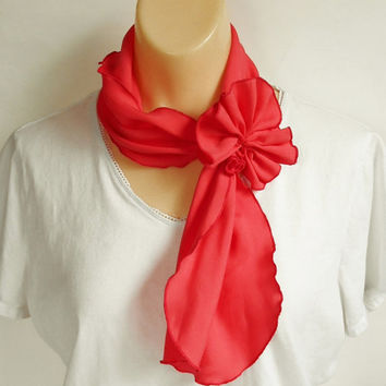 Red Orange Ruffled Scarf, Head Band Hair Accessory, Vintage Fashion, Multi Purpose Girls Bright Color Scarf