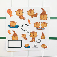 Sea Otter Date Night Planner Stickers Decorative Kit