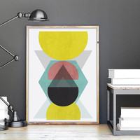 Geometric Concrete Printable Wall Art | Geometric Large Print 24 x 36 inches