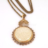 1pcs Vintage Large White Long Chain Pendant Necklace New Arrival free shipping