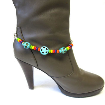 Boot Bracelet Day Of The Dead Sugar Skull Turquoise Blue Red Yellow Green Bling