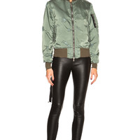 Unravel Oversized Bomber Jacket in Sunfaded Army Green | FWRD