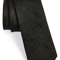 Men's The Tie Bar Silk Paisley Tie , Size Regular - Black (Online Only)