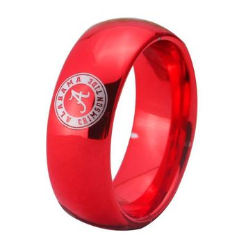 Alabama Design Mens Ring 8MM Width Red Color Domed Tungsten Carbide