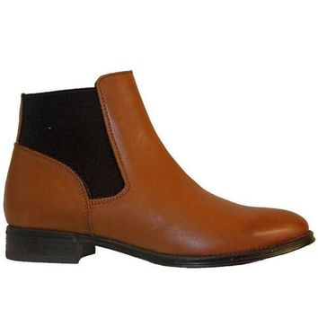 Chelsea Crew Dario   Tan Leather Dual Gore Pull On Flat Bootie