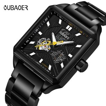 OUBAOER Brand Men watches Automatic mechanical watch Sport Casual business wristwatch Gold clock leather hours relojes hombre