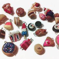Assorted Food Charms - 23 charms, Polymer clay food, food charms, miniature food, jewelry making, handmade charms, kawaii, assorted charms,