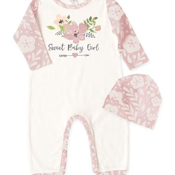 Tesa Babe Ivory & Pink 'Sweet Baby Girl' Playsuit & Beanie - Infant