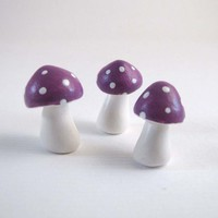 Tiny Heather Purple Trio Of Toadstools Figurine Or Terrarium Decoration No. 2 | Luulla